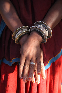 Detail of a woman livestock farmer in Rajasthan, India