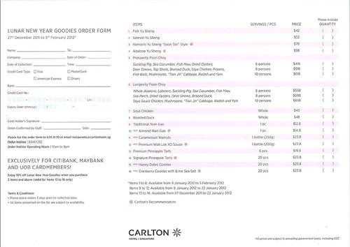 Carlton CNY order form