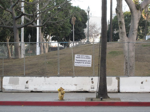 Los Angeles City Hall's south lawn after being shuttered to the public following the eviction of Occupy LA in 2011
