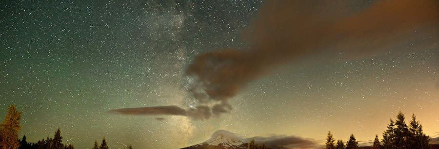 Milky Way above Mt. Hood seen from Mt. Hood Organic Farms.