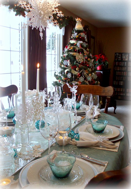 White Teal Snowflake Tablescape Flickr Photo Sharing