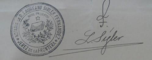 Firma y sello del notario Ángel Fernández Palomo