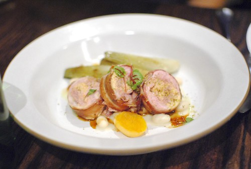 bacon wrapped rabbit saddle, white bean, fennel, apricot