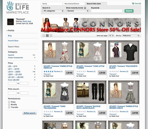 50 off sale CONNORS Marketplace store