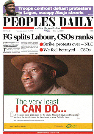 Front page of the Nigerian People's Daily saying that the federal government has split the labor movement and civil society over a settlement of the general strike. The military is occupying the capital. by Pan-African News Wire File Photos