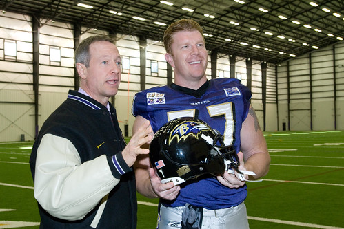 Governor O'Malley with Ravens' Matt Birk.