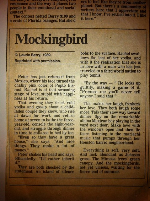Mockingbird, by Laurie Berry '89