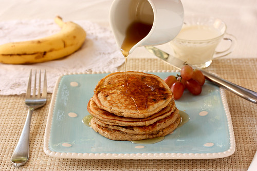 Peanut Butter Banana Pancakes via MealMakeoverMoms.com/kitchen