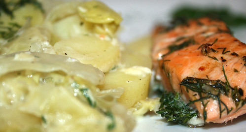 41 - Spitzkohlauflauf mit Lachs / Pointed cabbage casserole with salmon - CloseUp