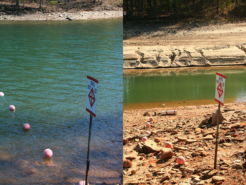 Lake Lanier, GA, before and after drought (by: Brian Hursey, creative commons license)