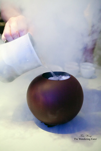 20th course: Pouring liquid nitrogen into the dark chocolate sphere