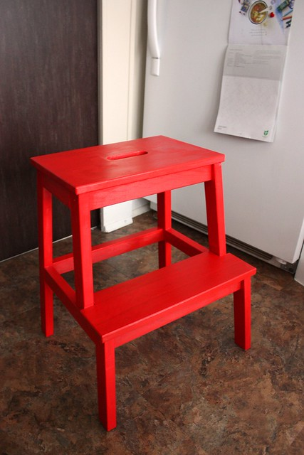 Here is the final result! I love it! Its a great pop of colour in our kitchen. : red step stool - islam-shia.org