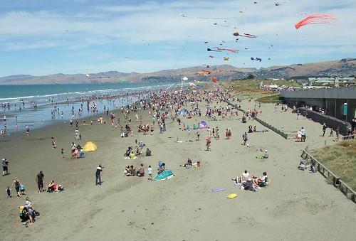 Kite Day at New Brighton beach in Christchurch