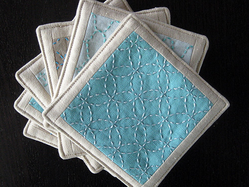 Sashiko coasters for Stitch Magazine