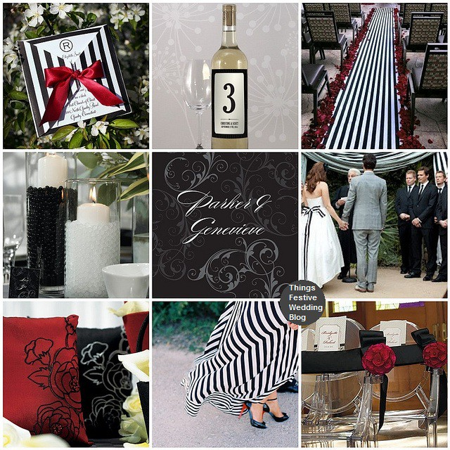Black And White Striped Wedding Theme With Red