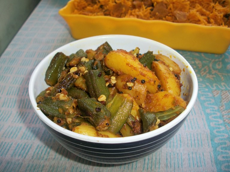 Bhinda bataka bhindi batata gujarati okra potato curry potato did you all came across the review which i posted earlier about the book gujarati kitchen if not check it now here this recipe is from her cookbook forumfinder Image collections