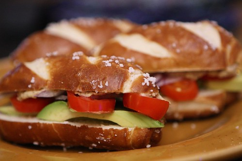 Avocado Pretzel Finger Sandwiches