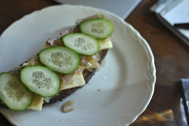 open face sandwich with pickled onions