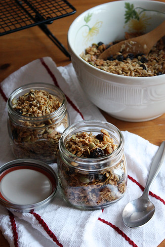 granola in jars.