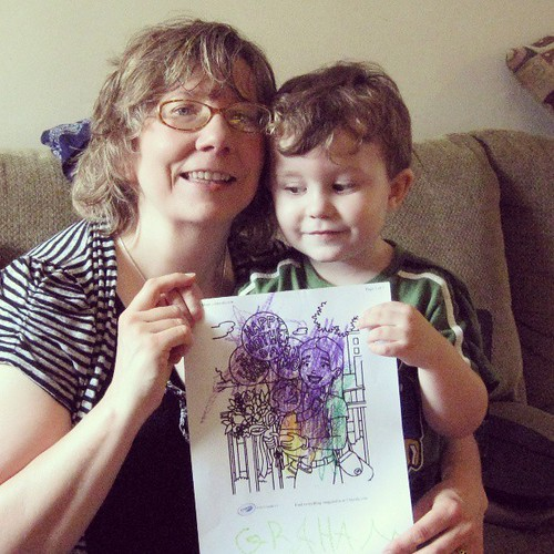 The secret is revealed: KFP made me a Mother's Day card using purple, my fave color! by shantipoet