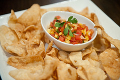 Mango Lychee Salsa with Fried Wonton Chips