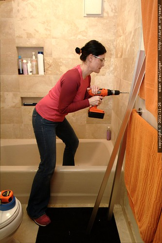 rachel drilling our bathroom wall    MG 2846