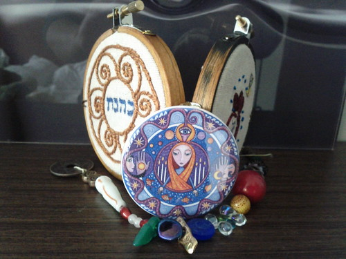 Travel altar with priestess mirror and Netivot Prayer beads.