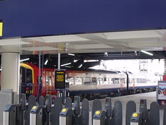 London Waterloo Station - ticket barriers and South West Trains - Class 159