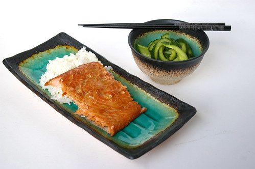 Teriyaki trout with quick pickles
