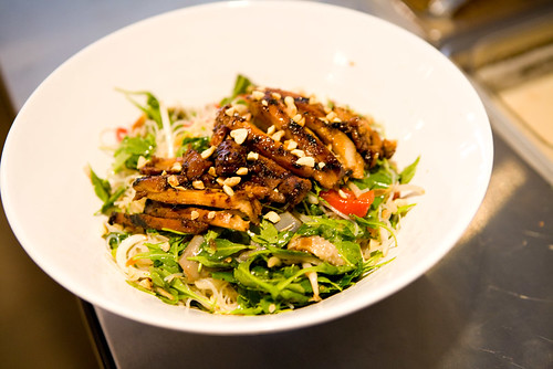 bbq chicken, arugula and glass noodle salad by TAKE A BAO