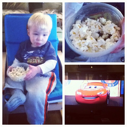 His first popcorn and watching Cars! Cool!