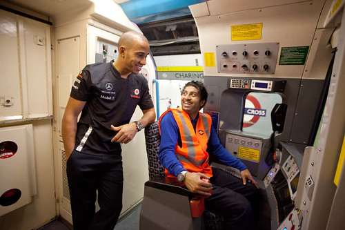 Lewis Hamiliton on the Tube  - publicity shot by Diageo