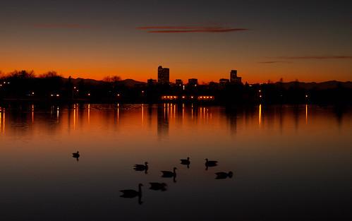 sunset lake reflections landscape evening colorado cityscape denver citypark