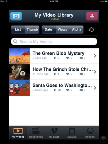 My Video Library on Vimeo's iPhone app