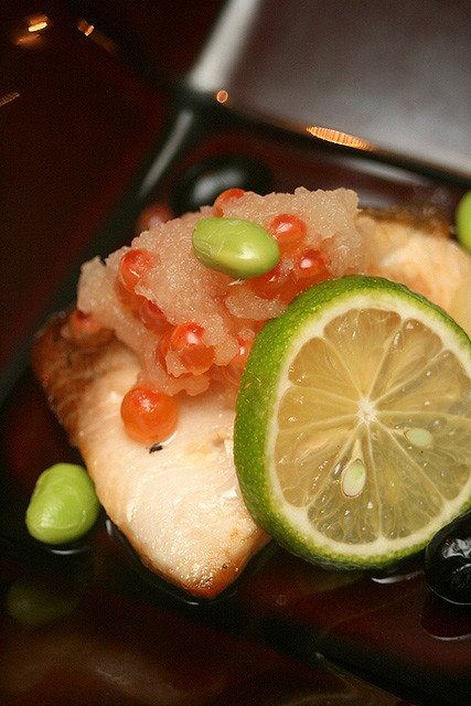 Grilled Item no.1: Grilled Yellowtail with Salt, Fresh Salmon Roe with Grated Radish, Sudachi Citrus