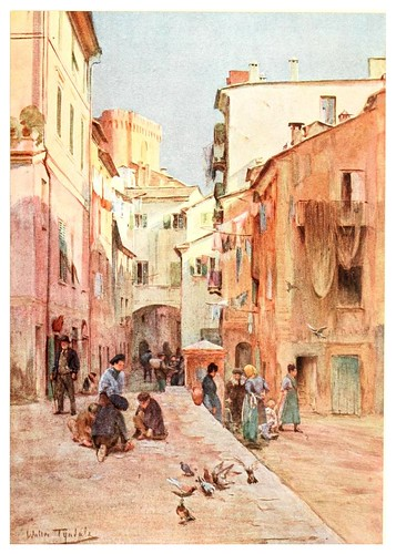 005-La plaza en Sestri Levante-An artist in the Riviera (1915)-Walter Tyndale