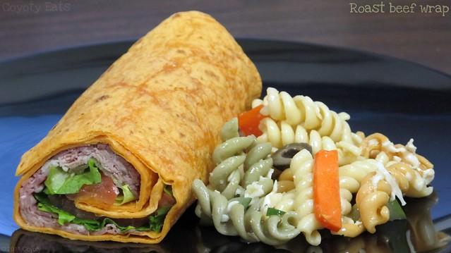 Roast beef wrap and pasta salad