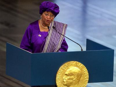 President Ellen Johnson-Sirleaf of the Republic of Liberia in West Africa. Libera underwent a civil war during the 1990s.  by Pan-African News Wire File Photos