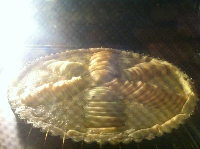 Tart baking in oven