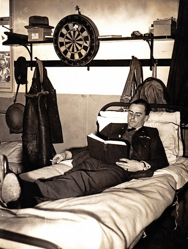 An RAF fighter pilot at rest. 1940.