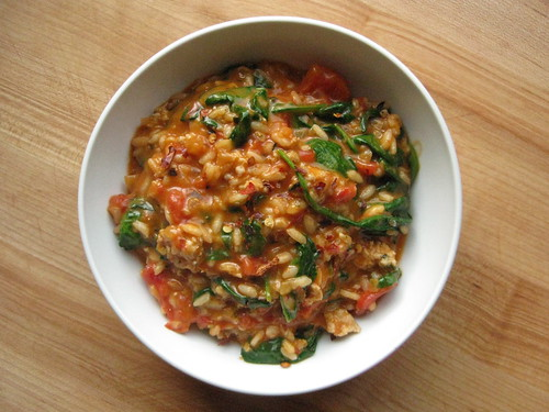 tomato, spinach and chicken risotto