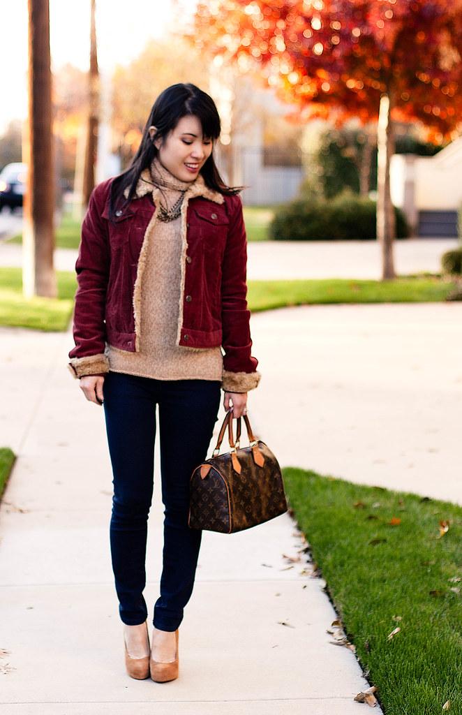 red shearling corduroy jacket, gap knit turtleneck sweater, urban outfitters bdg grazer indigo cigarette jeans, bakers wild pair karen tan suede pump
