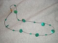 Necklace with Green Shells and Beads by randubnick