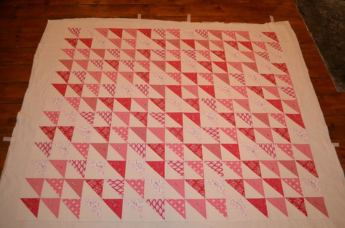 Tilda Triangles Quilt basted
