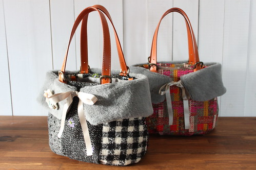 tweed bag_tweed bag_black gray & mix color
