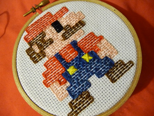 Retro 8 bit Mario embroidery