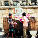 Children playing with flowers