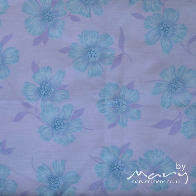 Vintage sheet - blue floral on purple