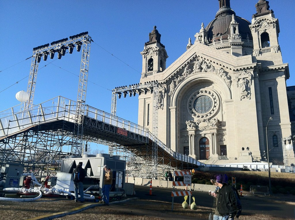 Red Bull Crashed Ice setup in St. Paul, MN