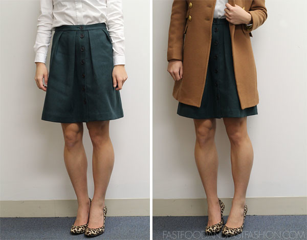 j crew flair skirt cool pine green